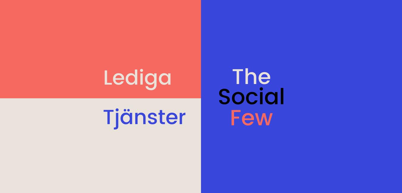 I bilden står det lediga tjänster på The Social Few.